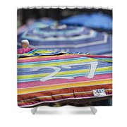 Beach Umbrella Rainbow 4 Shower Curtain