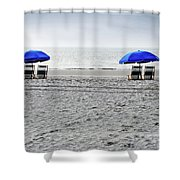 Beach Umbrellas On A Cloudy Day Shower Curtain by Thomas Marchessault