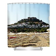 Beach View Of Lindos Shower Curtain