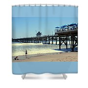 Beach View With Pier 1 Shower Curtain by Ben and Raisa Gertsberg