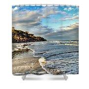 Beach Walk In Winter Shower Curtain