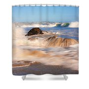 Beach Waves Smoothly Flowing Over The Rocks Fine Art Photography Print Shower Curtain