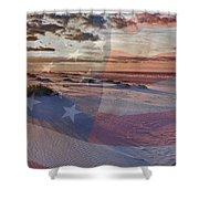 Beach With Flag Shower Curtain