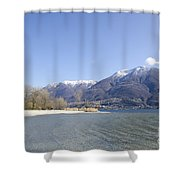 Beach With Mountain Shower Curtain