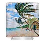 Beach With Palm Trees Shower Curtain