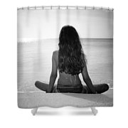 Beach Yoga Shower Curtain