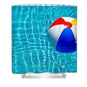 Beachball On Pool Shower Curtain