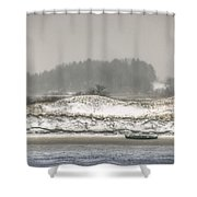 Beached Boat Winter Storm Shower Curtain