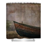 Beached Dinghy Shower Curtain
