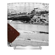 Beachside Warning Horizontal Bw With Colorized Red Sign Shower Curtain