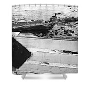 Beachside Warning Horizontal Grayscale Shower Curtain