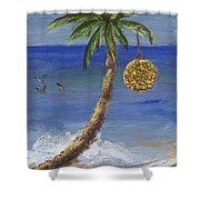 Beachy Christmas Shower Curtain