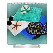 Beachy Things - Aqua Blue Shower Curtain