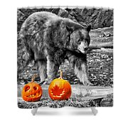 Bear And Pumpkins Too Shower Curtain
