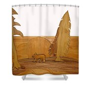 Bear Between Two Trees Shower Curtain