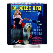 Bearded Collie Art Canvas Print - La Dolce Vita Movie Poster Shower Curtain