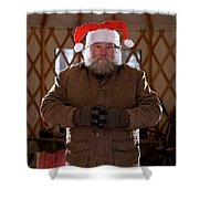 Bearded Man With Christmas Hat Shower Curtain