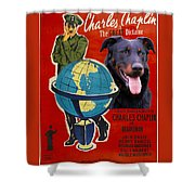 Beauceron Art Canvas Print - The Great Dictator Movie Poster Shower Curtain