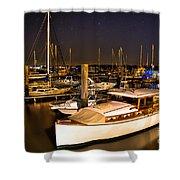 Beaufort Sc Night Harbor Shower Curtain by Reid Callaway