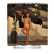 Beautiful 1940s Pin-up Girl Standing Shower Curtain