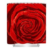 Beautiful Abstract Red Rose Illustration Shower Curtain