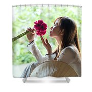 Beautiful Asian Woman With Flowers - Vietnam Shower Curtain