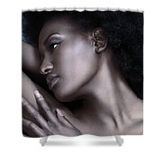 Beautiful Black Woman Face With Shiny Silver Skin Shower Curtain