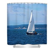 Beautiful Boat Sailing At Puget Sound Shower Curtain