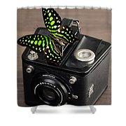 Beautiful Butterfly On A Kodak Brownie Camera Shower Curtain
