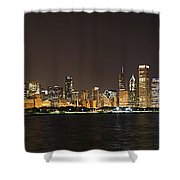 Beautiful Chicago Skyline With Fireworks Shower Curtain