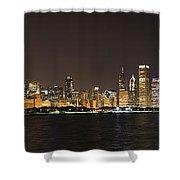 Beautiful Chicago Skyline With Fireworks Shower Curtain by Adam Romanowicz