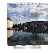 Beautiful Clouds Over Motlawa River - Gdansk Shower Curtain