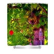 Beautiful Colored Glass Ball Hanging On Tree 2 Shower Curtain