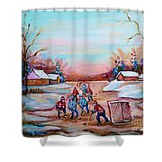 Beautiful Day For Pond Hockey Winter Landscape Painting  Shower Curtain