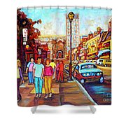 Beautiful  Downtown City Stroll  Cafe Paintings Montreal Restaurants On Crescent Street C Spandau Shower Curtain