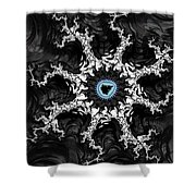 Beautiful Fractal Artwork Black White And Blue Shower Curtain