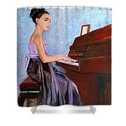 Beautiful Girl Playing Piano Shower Curtain
