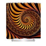 Beautiful Golden Fractal Spiral Artwork  Shower Curtain by Matthias Hauser