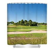 Beautiful Green Golf Course And Blue Sky Shower Curtain
