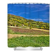 Beautiful Green Hill With Vineyard Cottages Shower Curtain