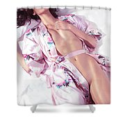 Beautiful Half Nude Asian Woman Lying In Bed Wearing Pink Yukata Shower Curtain