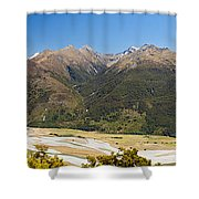 Beautiful Makarora Valley On South Island Of Nz Shower Curtain
