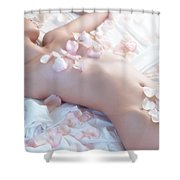 Beautiful Nude Woman Lying In Bed With Pink Rose Petals On Her B Shower Curtain