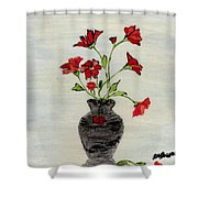 Beautiful Red Flowers Shower Curtain