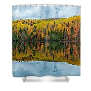 Beautiful Reflections Of A Autumn Forest In A Lake Shower Curtain