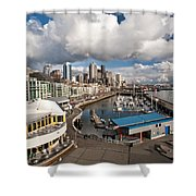 Beautiful Seattle Sky Shower Curtain by Mike Reid