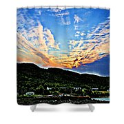 Beautiful Sky Over The Harbour Digital Painting Shower Curtain
