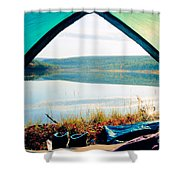 Beautiful View Of Calm Lake Looking Out Of Tent Shower Curtain
