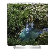 Beautiful Waterfall In The Mountains In Navarra Shower Curtain