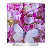 Beautiful White Butterfly Shower Curtain